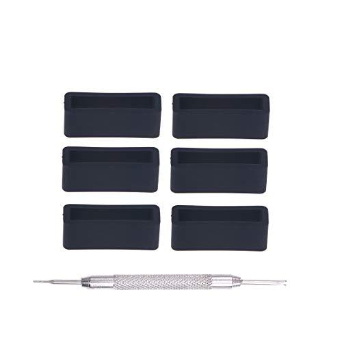 UKCOCO 6 Cinturini in Silicone da 20 Pezzi con Cinturino in Silicone di Ricambio per PC (Nero)