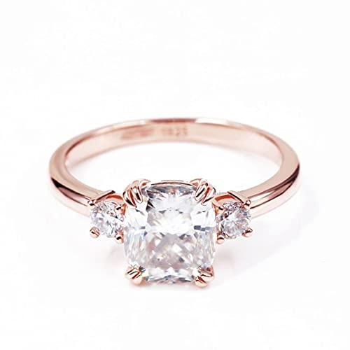 JIUXIAO Gemmes Coussin De Fiançailles Lab Bague en Diamant Stuning Bleu Vert Blanc Pierre Couleur Argent Lab Diamant Anneaux Bijoux pour Femmes