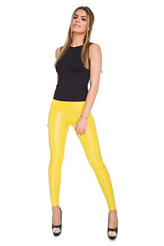 FUTURO Fashion Leggins sexis de aspecto brillante y húmedo, largo completo, cintura alta, de látex, piel sintética LTPNL Amarillo amarillo 36