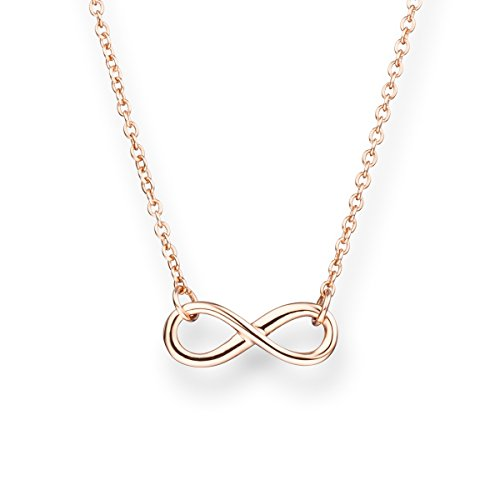 Glanzstücke München Damen-Halskette Infinity Sterling Silber rosévergoldet 40 + 5 cm - Silberkette mit Unendlichkeit Zeichen Kette mit Anhänger Unendlichkeitssymbol