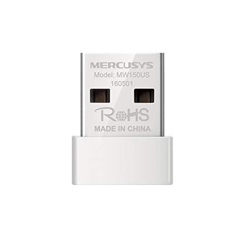 MERCUSYS N150 Adaptador inalámbrico Nano USB, Compatible con Windows 10/8.1/8/7/XP, fácil configuración (MW150US)