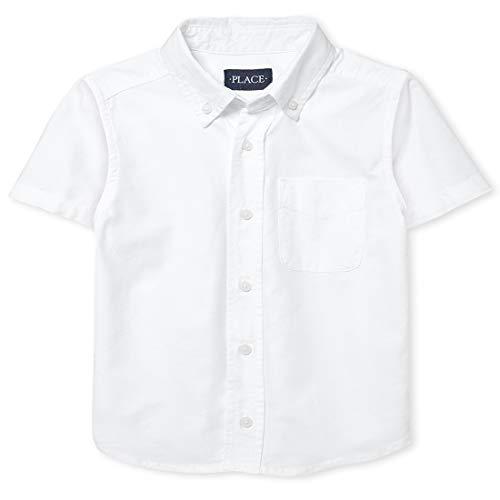 The Children's Place boys Short Sleeve Oxford Shirt, White, Medium