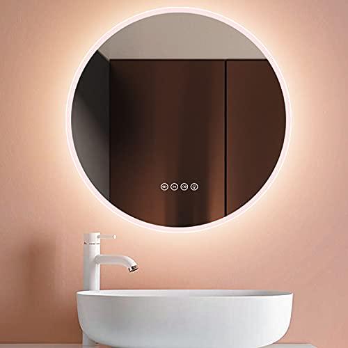 GETZ Espejo de Baño con Iluminación LED, Espejo de Pared para Cuarto de Baño Smart Regulable Espejo de Tocador con Interruptor Táctil y Bluetooth, 3 LED de Color Ajustable