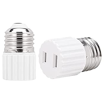 [2 Pack] E26 Light Socket Plug Adapter,E26 Light Socket to 2 Prong Outlet Adapter Polarized 2 Prong Outlet White
