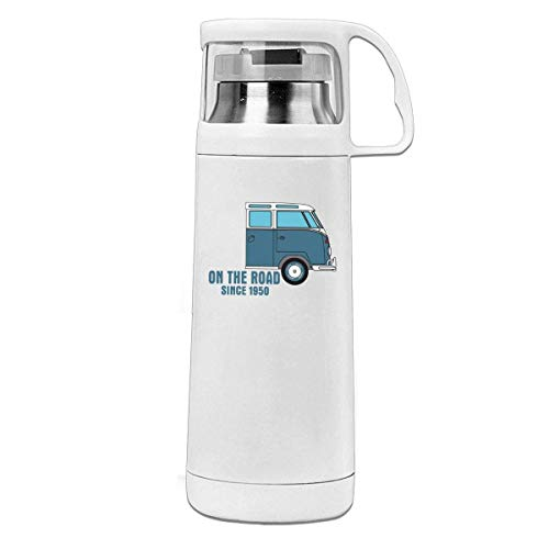 Bestqe Vakuumisolierte Trinkflasche,Wasserflasche,T1 Campervan On The Road Enamel Tin Mug Insulated Stainless Steel Thermos Cup Portable Water Bottle with Handle Vacuum Tea Cup Travel Mug
