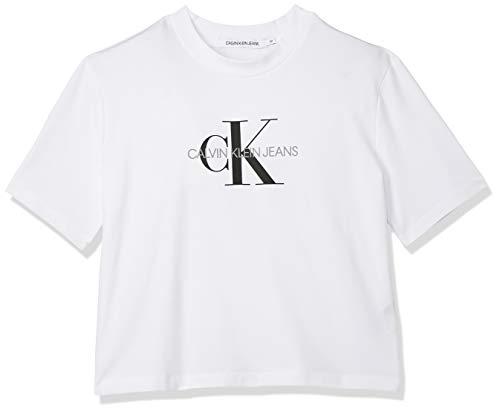 Calvin Klein Monogram Modern Straight Crop T-Shirt, Bianco (Bright White Yaf), 46 (Taglia Produttore: X-Large) Donna