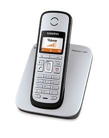 Siemens Gigaset C380 ECO schnurloses DECT Telefon mit beleuchtetem Farbdisplay, titanium