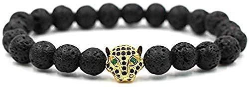 ZGYFJCH Co.,ltd Collar de Moda de 8 Mm, Pulsera de Piedra de Lava de Piedra Natural, Colgante de Leopardo para Hombre, joyería con Cabeza de Pantera Negra, Pulsera, joyería en Mano