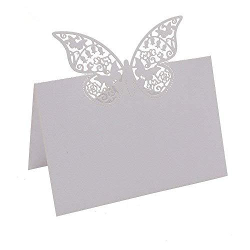 Cartes de Place,Carte de Noms 50 Pack Papillon 3D Cartons de Placement Blanc Invité Cartes pour Fête Banquet Mariage Festival Décoration 9 * 12CM
