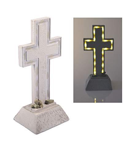 BURI Solar Grablicht Kreuz 28x13cm LED Grabschmuck Grabdeko Gedenkstein Grableuchte