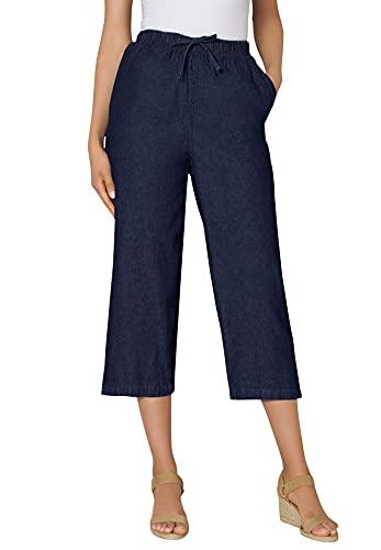 Woman Within Women's Plus Size Drawstring Chambray Relaxed Capri Pants - 22 W, Indigo Gray