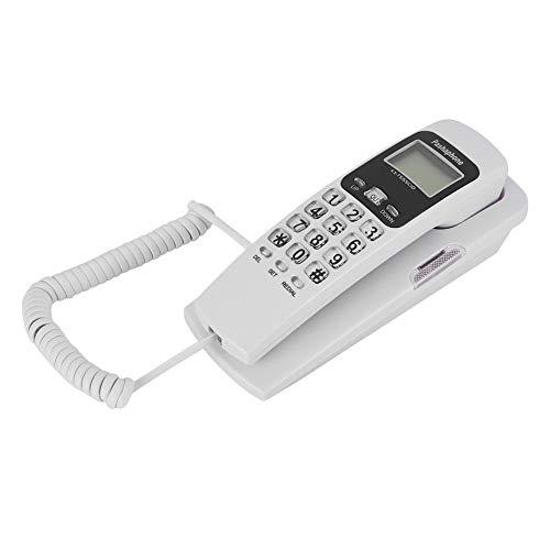 Garsent Teléfono con Cable, Soporte para teléfono Fijo Fijo con Botones Grandes FSK y DTMF para el hogar, la Oficina, la Empresa, el Hotel, etc.(Blanco)