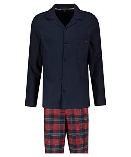 Tommy Hilfiger Flanell Pyjama-Set Reine Baumwolle Karo Design weinrot Größe S