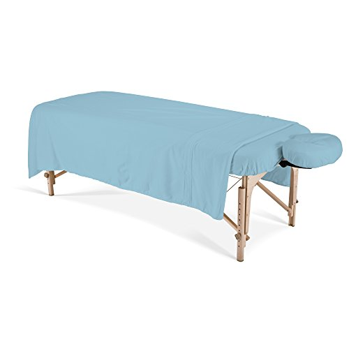 EARTHLITE Professional Flannel Massage Table Sheets Set - Durable, Soft, Luxurious Comfort, Double-Napped Top Sheet, Fitted Sheet & Crescent Cover