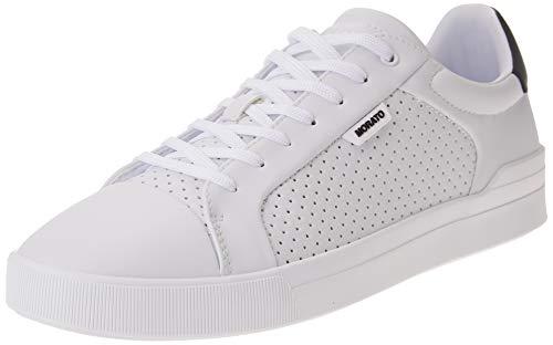 Antony Morato Sneaker Rod Sfoderata in Faux Leather Punched, Scarpe con Lacci Uomo, Bianco, 45 EU