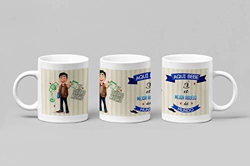 Taza Desayuno Personalizada para Abuelos Regalo día del padre.-Aquí Bebe el Mejor Abuelo del Mundo.- Regalo original para hombres con frase.350 ml.(Abuelo, Pelo Moreno)