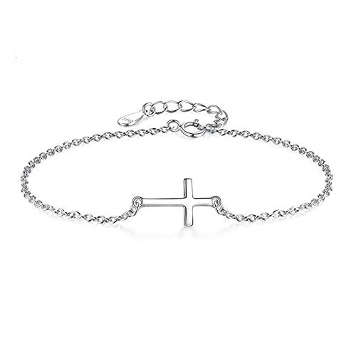 Pulsera de cadena de plata de ley 925 ajustable en forma de cruz de lujo pulsera de joyería simple regalo