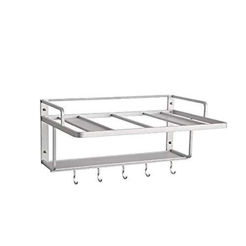JF-XUAN Mensola alluminio dello spazio Microonde multifunzionale della cucina con il gancio a microonde cucchiaio della forcella Holder Kitchen Storage Box (Colore: ARGENTO, Size: 53cm * 36.5cm * 38cm
