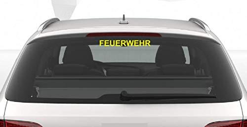 Dinger-Design Premium Feuerwehr Aufkleber Autoaufkleber Waschstraßenfest Firefighter 25 cm gelb