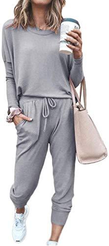 Huha Chándal de Mujer Sudadera y pantalón Trajes de 2 Piezas Sudadera Moda de Manga Larga Ropa de salón Corredores Conjunto