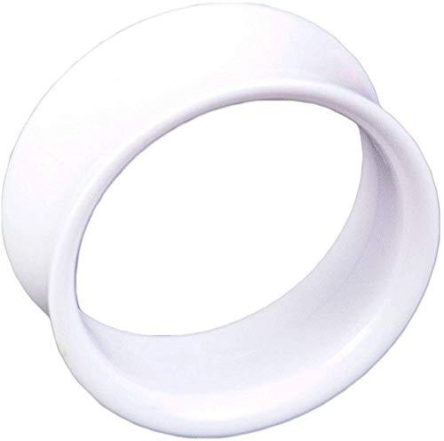 viva-adorno® Double Flared Flesh Tunnel Plug Tube Tunnel ohne Gewinde Kunststoff Acryl verschiedene Farben Größe 3 - 22mm UFT, Tunnel weiß 14mm