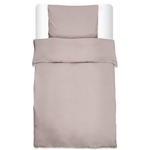 Beautissu Bettwäsche Renforcé Julie 2 TLG. Set Bettbezug 135x200 cm + Kopfkissenbezug 80x80 cm Baumwolle Taupe Oeko-Tex