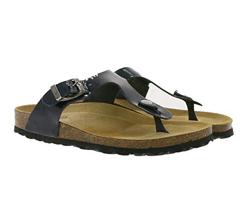 thies Haus-Schuhe gemütliche Damen Zehentrenner aus Lacklederimitat Latschen Pantoffeln Schwarz, Größe:36