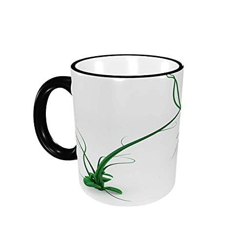 Taza de café Tazas de café de Planta de Vid 3D Verde de Dibujos Animados Divertidos Lindos Tazas de cerámica con Asas para Bebidas Calientes - Cappuccino, Latte, Tea, Cocoa Gifts 12 oz Black