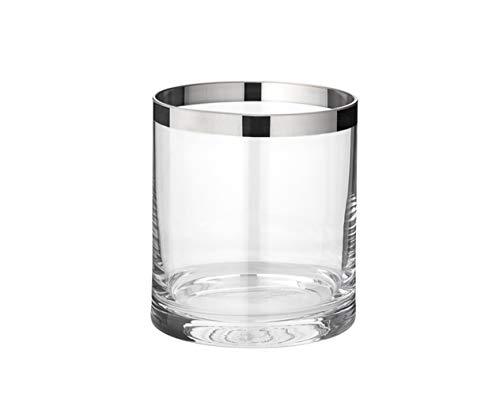 EDZARD Windlicht Molly, mundgeblasenes Kristallglas mit Platinrand, Höhe 10 cm, Durchmesser 8,5 cm, für Teelicht oder Maxi-Teelicht