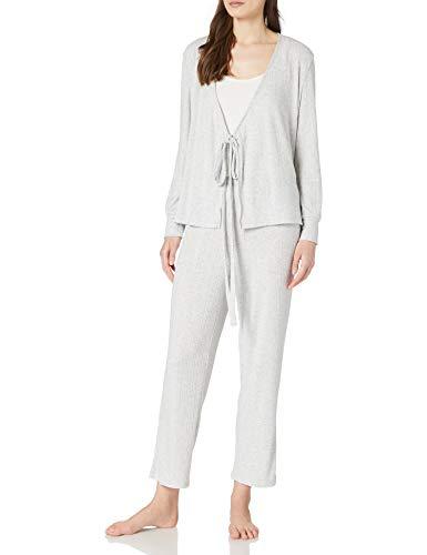 Women' Secret Pijama Largo canalé, Gris Medio, L para Mujer