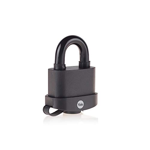 Yale Y220B/61/123/1 - Black Weatherproof Padlock with Protective Cover (61 mm) - Outdoor Hardened Steel Shackle Lock for Shed, Gate, Chain - 3 Keys - HIGH SECURITY