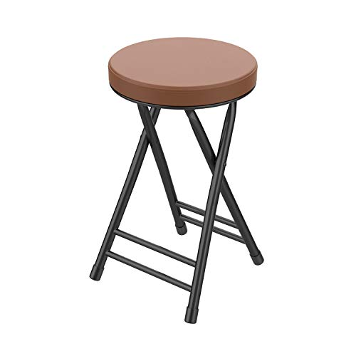 Folding Stool,Cushioned Padded Folding Stool 18.1 inch,Brown Portable Heavy Duty Collapsible Padded Round Stool