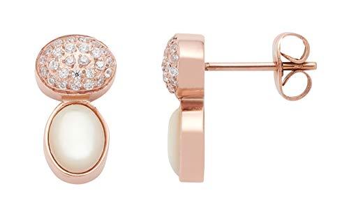 Jewels by Leonardo Damen-Ohrstecker roségold mit silbernen Glassteinen und Perlmutt I Ohrring klein aus Edelstahl mit Gravur