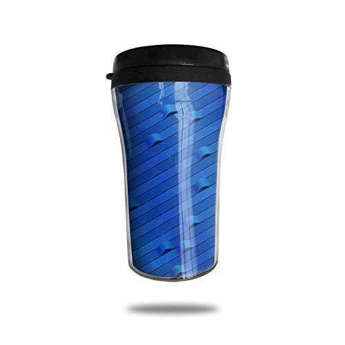OUYouDeFangA Blue Origami Lines Taza de café de viaje con impresión 3D portátil al vacío, taza de té aislada para beber con tapa 8.54 oz (250 ml)