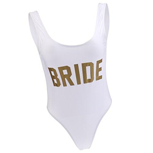 non-brand Sexy Damen Badeanzug Einteiliger Bride Gold Buchstaben Schwimmanzug Push up Bikinis Strandmode Bathing Suit Hen Night Bachelorette Party Zubehör - Gold, M