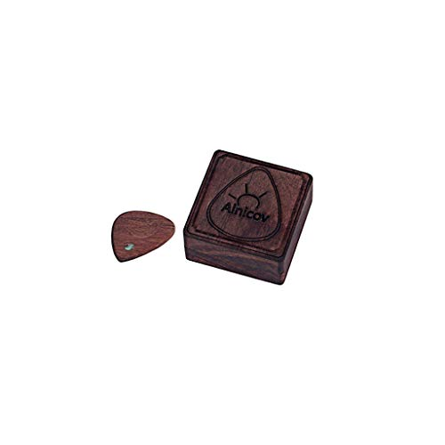 Alnicov Caja de madera para púas de guitarra con 1 púas de madera