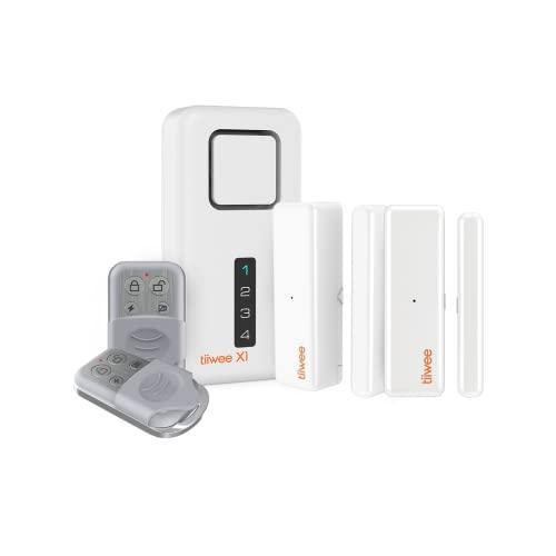 Tiiwee X1 Allarme Casa Senza Fili con Sirena da 120 dB, 2 Sensori per Finestre Porta e 2 Telecomandi - Kit Antifurto