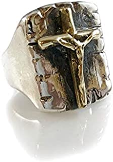 SILVERLAND1 Crucified Jesus Christ Brass & Solid Sterling Silver 925 Ring by Ezi Zino