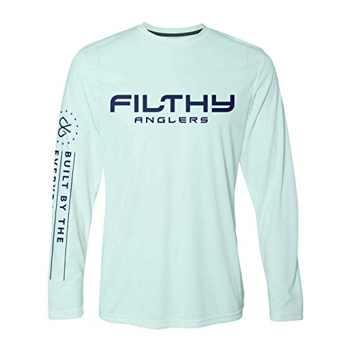 Filthy Anglers Long Sleeve Performance UPF Fishing Shirt : Filthy Stars : Lightweight Sun Protection (4X, Seafoam)