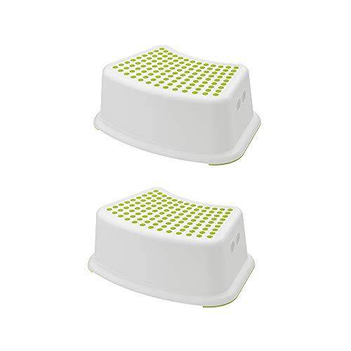 IKEA FÖRSIKTIG Escalón, blanco, verde, 2 unidades - 602.484.18