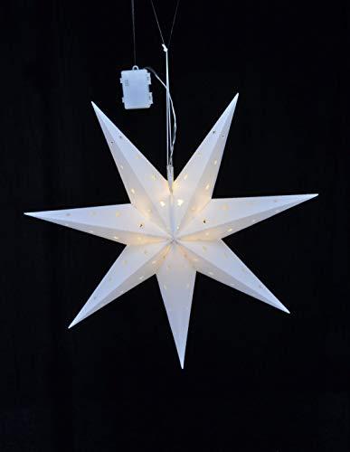 LED Weihnachtsstern mit Auto Timer - 60x21 cm - LED Stern zu Weihnachten zum aufhängen - Fensterdeko Batterie betrieben