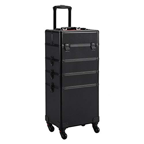 Yaheetech Kosmetikkoffer Alu Beauty Case Kosmetik Trolley Rollkoffer 4 in 1 Schminkkoffer mit 360° drehbaren Rollen