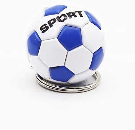 WASHULI Coche Llavero Colgante Llavero Colgante 3D Deportes fútbol Llavero Llavero Souvenirs PU Llavero de Cuero for Hombres fábanos fanáticos Colgante Novio Regalos (Color : Blue Ball Ca28)