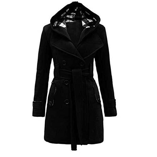 Auifor Damen stylischer Herbst Winter Mantel Jacke Kapuze Winterjacke,Taschen ausgestellten Rock windjacken Wintermantel mit gürtel (F-Schwarz,Medium)