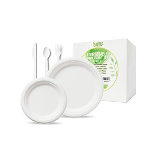 Humble Green Compostable Plate and Utensil Set - 250 Pieces of Biodegradable and Renewable Plates, Forks and Knives. Made From Renewable Sources.