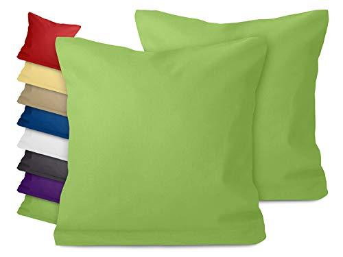 npluseins Doppelpack zum Sparpreis - Baumwoll-Kissenbezüge - Moderne Wohndekoration in schlichtem Design - 8 modernen Uni-Farben und 3 Größen, 40 x 40 cm, grün
