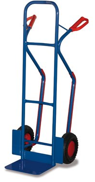 Stahlrohr Sackkarre 250 kg, Vollgummibereifung mit Gleitkufen,