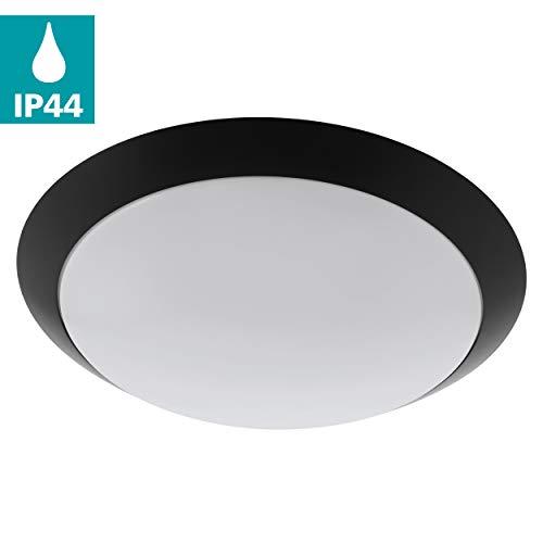 EGLO LED Outdoor plafondlamp Pilone, 1 vlammige buitenlamp voor muur en plafond, plafondlamp van staal en kunststof, kleur: zwart, wit, IP44