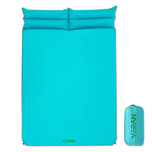 YERAN Warm Double Self Inflating Camping Sleeping Pads, 1.2 Inch Thick Lightweight Inflatable Foam Camping Mattress with Pillow, Insulated Outdoor Camping Sleeping Mat for Backpacking Hiking Traveling