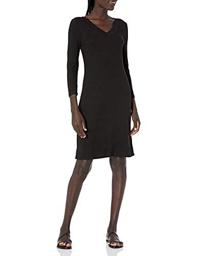 Amazon Brand - Daily Ritual Women's Cozy Knit Half-Sleeve V-Neck Dress, Black, Small